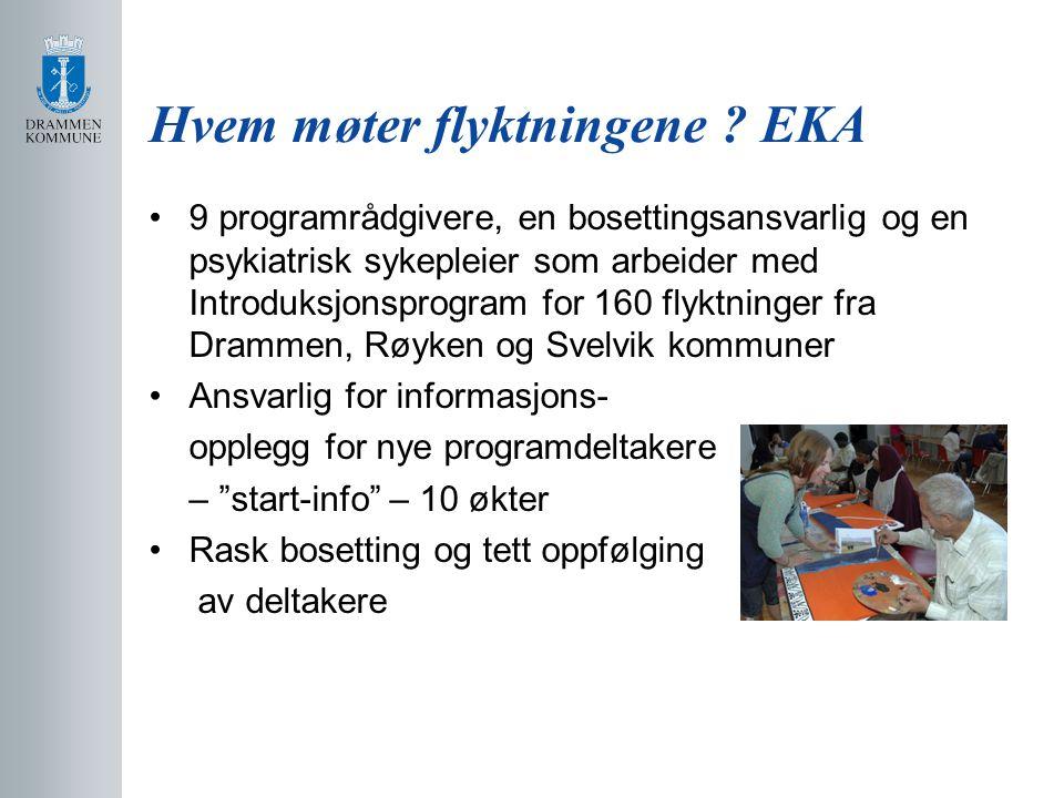 Hvem møter flyktningene ? EKA 9 programrådgivere, en bosettingsansvarlig og en psykiatrisk sykepleier som arbeider med Introduksjonsprogram for 160 fl