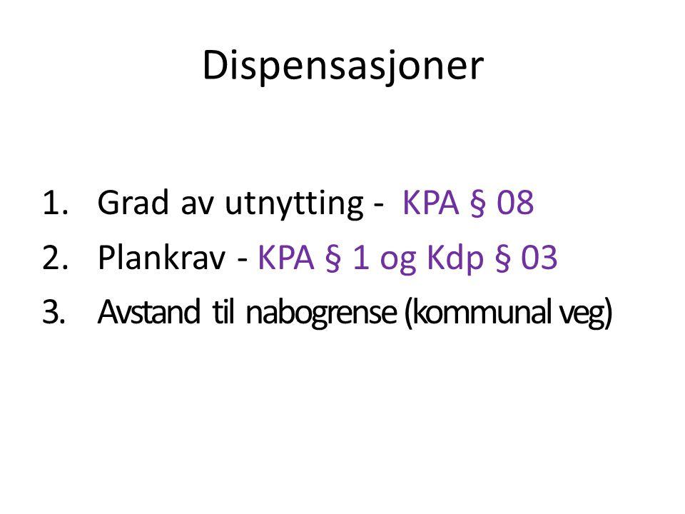 Dispensasjoner 1.Grad av utnytting - KPA § 08 2.Plankrav - KPA § 1 og Kdp § 03 3.Avstand til nabogrense (kommunal veg)