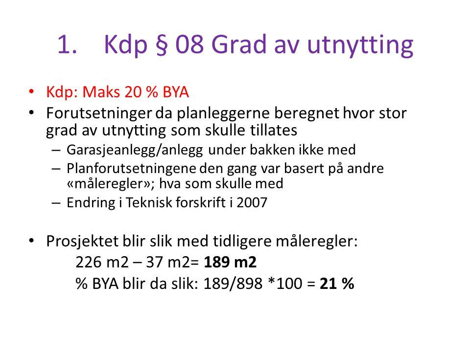 1.Kdp § 08 Grad av utnytting Kdp: Maks 20 % BYA Forutsetninger da planleggerne beregnet hvor stor grad av utnytting som skulle tillates – Garasjeanleg