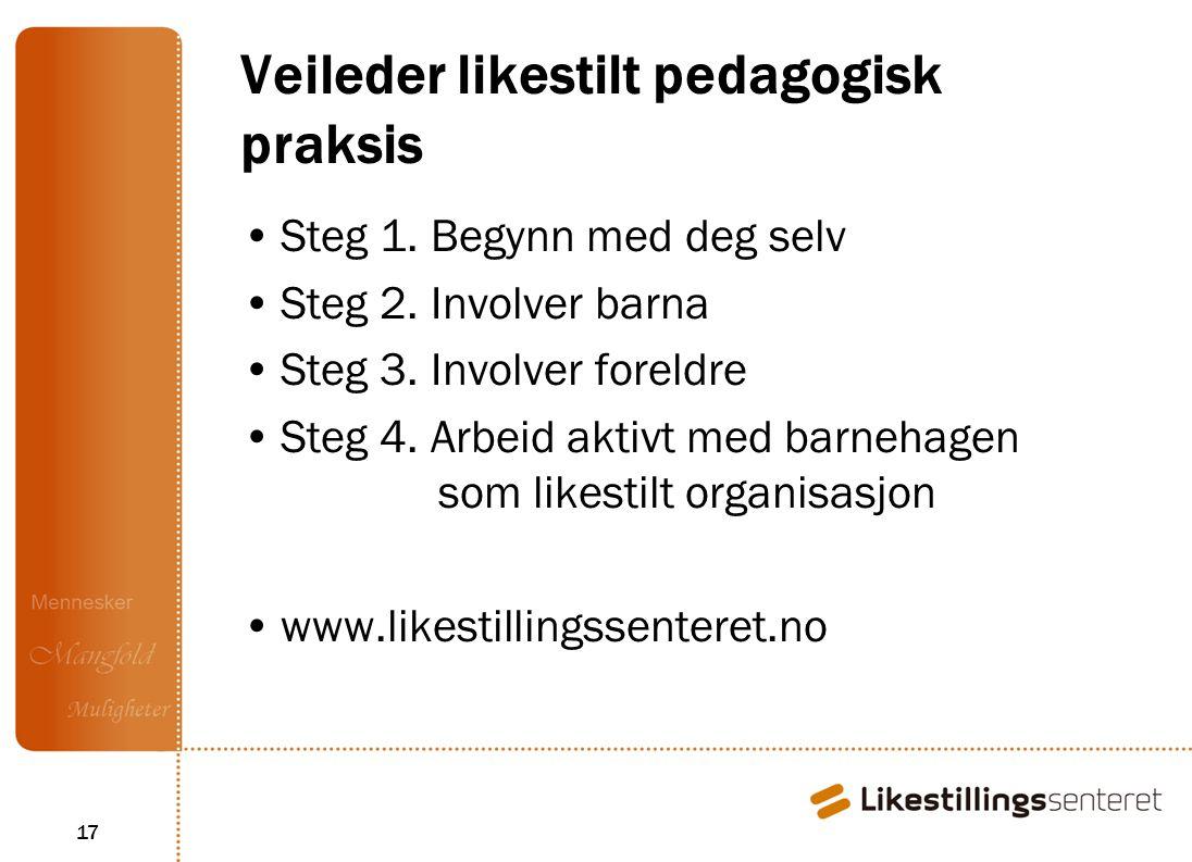 17 Veileder likestilt pedagogisk praksis Steg 1.Begynn med deg selv Steg 2.