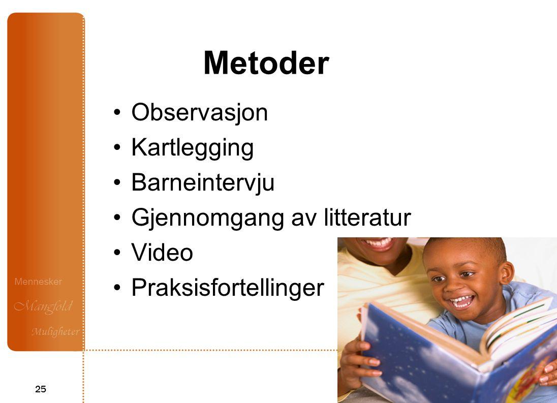 25 Metoder Observasjon Kartlegging Barneintervju Gjennomgang av litteratur Video Praksisfortellinger