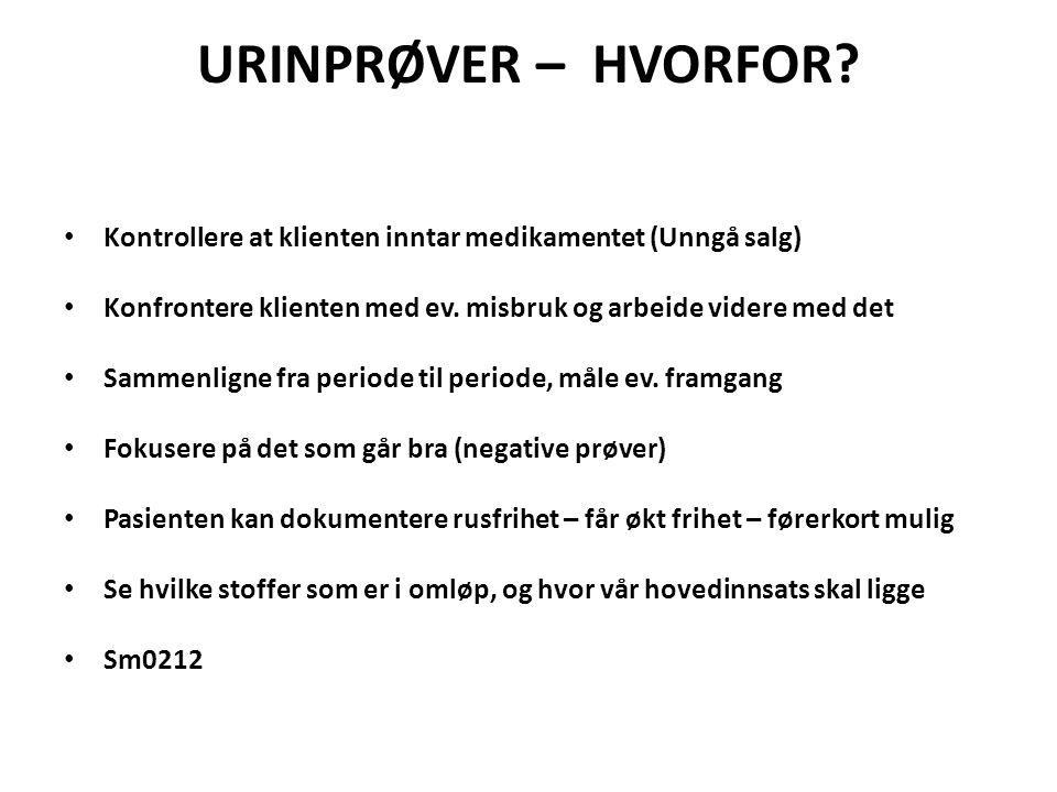 URINPRØVER – HVORFOR.
