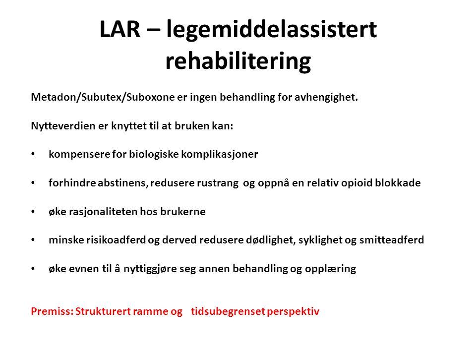 LAR – legemiddelassistert rehabilitering Metadon/Subutex/Suboxone er ingen behandling for avhengighet.