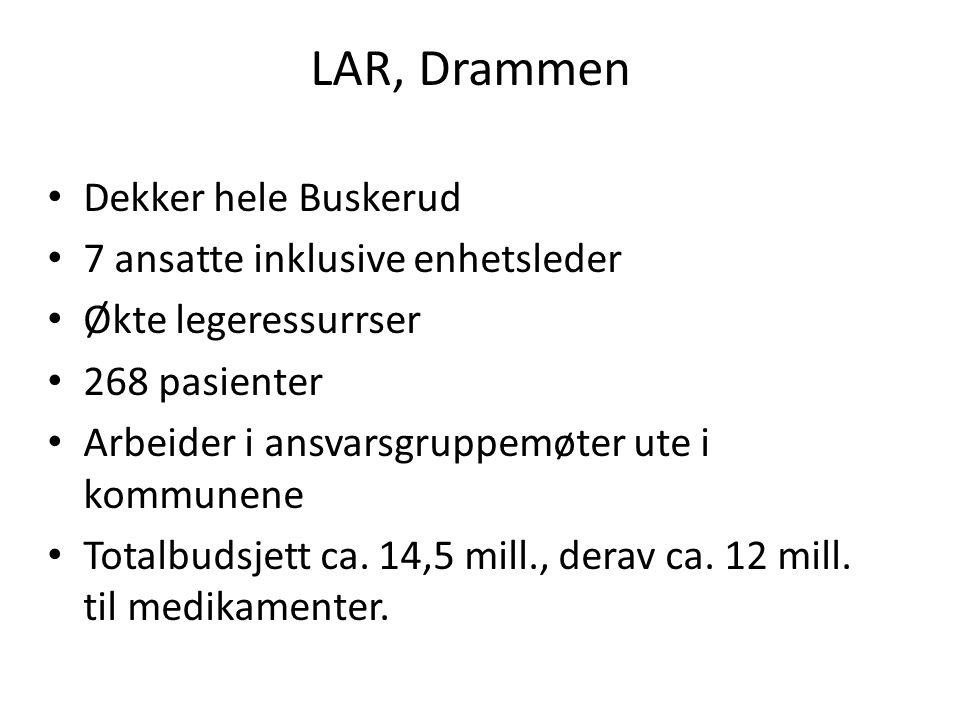 LAR, Drammen Dekker hele Buskerud 7 ansatte inklusive enhetsleder Økte legeressurrser 268 pasienter Arbeider i ansvarsgruppemøter ute i kommunene Totalbudsjett ca.