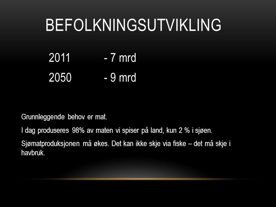 BEFOLKNINGSUTVIKLING 2011 - 7 mrd 2050 - 9 mrd Grunnleggende behov er mat.