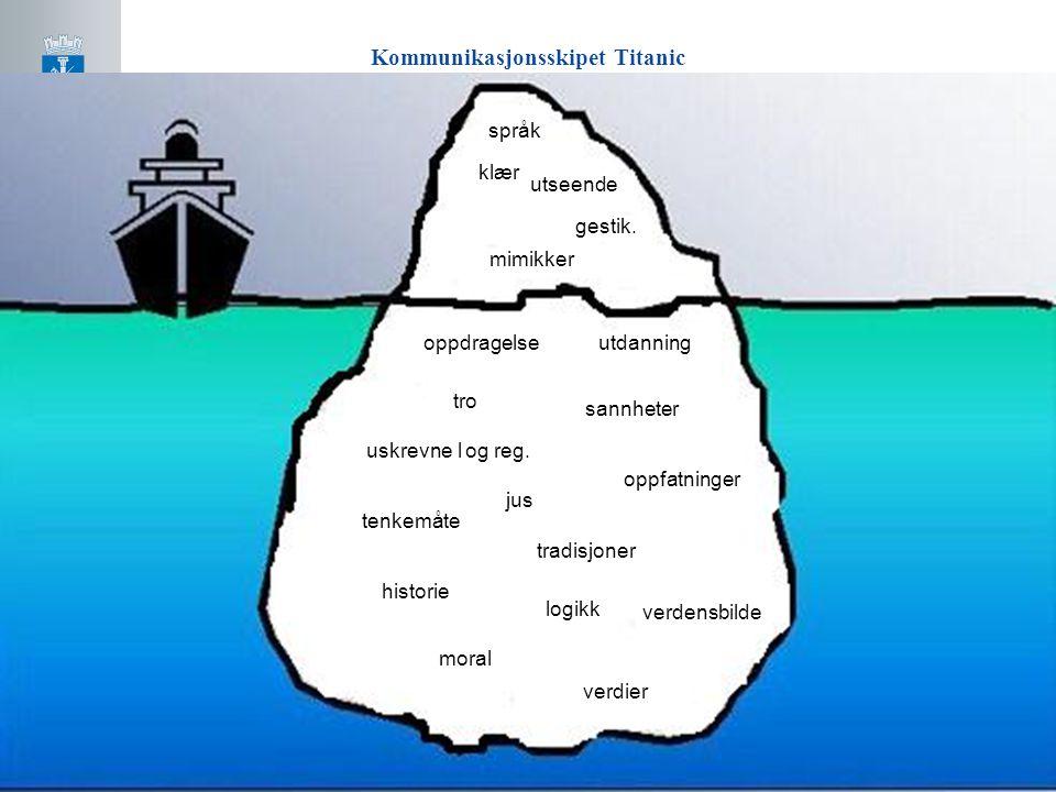 Kommunikasjonsskipet Titanic språk klær utseende gestik. mimikker jus utdanning tro oppdragelse oppfatninger sannheter tradisjoner historie tenkemåte