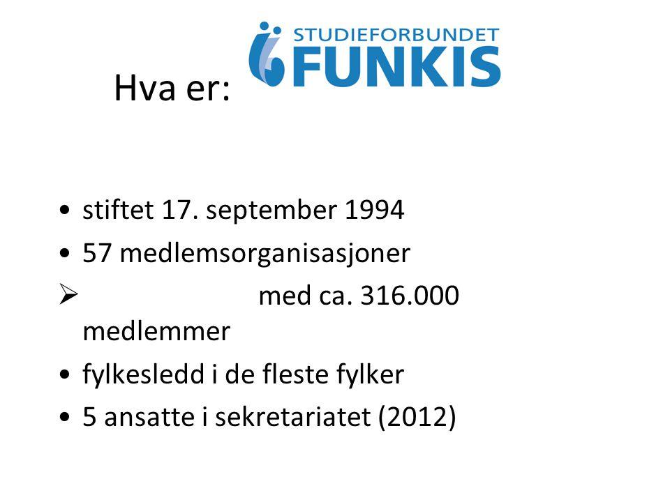Hva er: stiftet 17. september 1994 57 medlemsorganisasjoner  med ca. 316.000 medlemmer fylkesledd i de fleste fylker 5 ansatte i sekretariatet (2012)