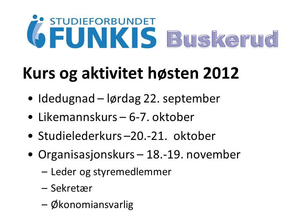 Kurs og aktivitet høsten 2012 Idedugnad – lørdag 22.