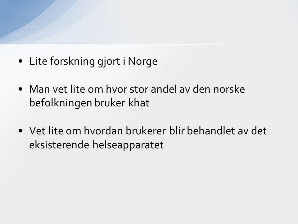 Lite forskning gjort i Norge Man vet lite om hvor stor andel av den norske befolkningen bruker khat Vet lite om hvordan brukerer blir behandlet av det