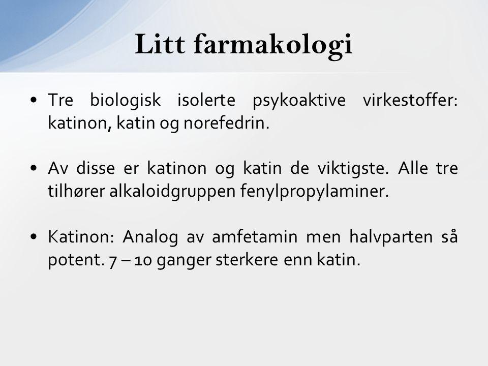 Tre biologisk isolerte psykoaktive virkestoffer: katinon, katin og norefedrin. Av disse er katinon og katin de viktigste. Alle tre tilhører alkaloidgr