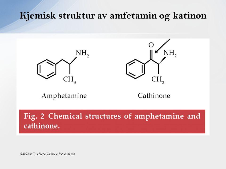 Kjemisk struktur av amfetamin og katinon ©2003 by The Royal Collge of Psychiatrists