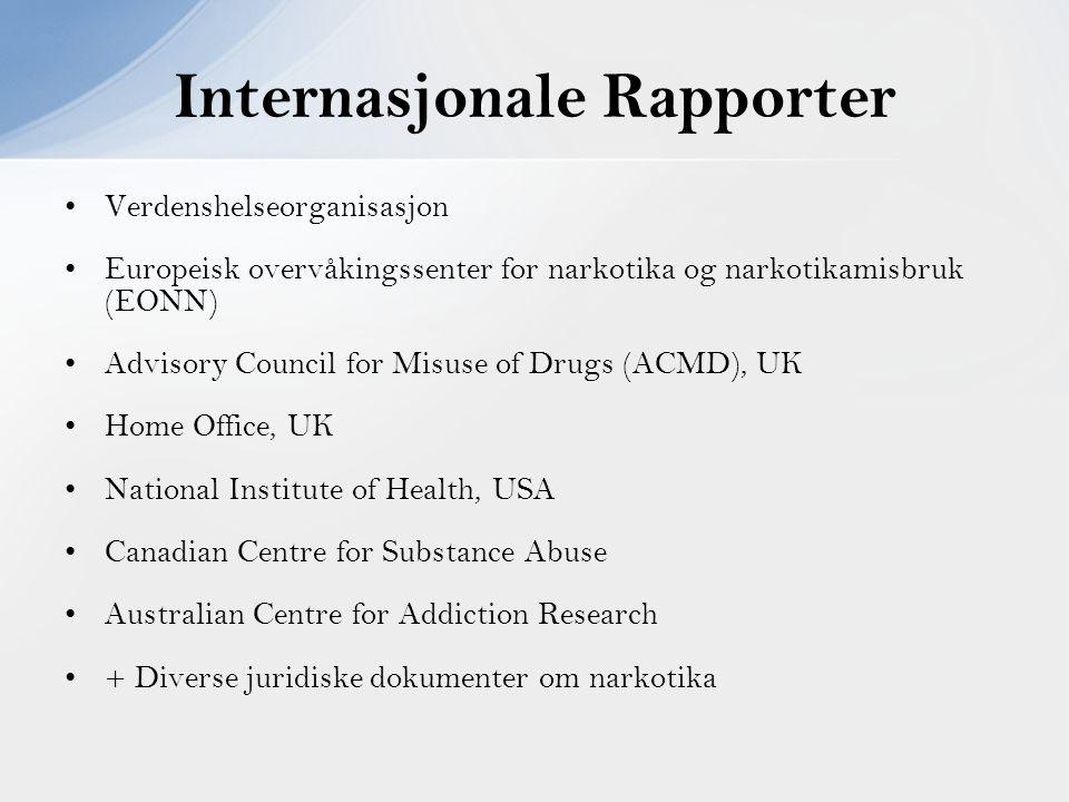 Verdenshelseorganisasjon Europeisk overvåkingssenter for narkotika og narkotikamisbruk (EONN) Advisory Council for Misuse of Drugs (ACMD), UK Home Off