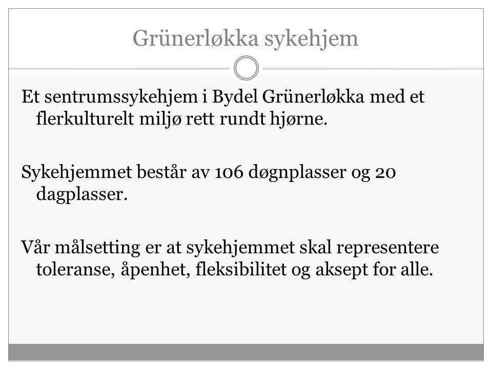 Et flerkulturelt hjem og en arbeidsplass Grünerløkka sykehjem har et flerkulturelt arbeidsmiljø og flere pasienter med innvandrerbakgrunn.