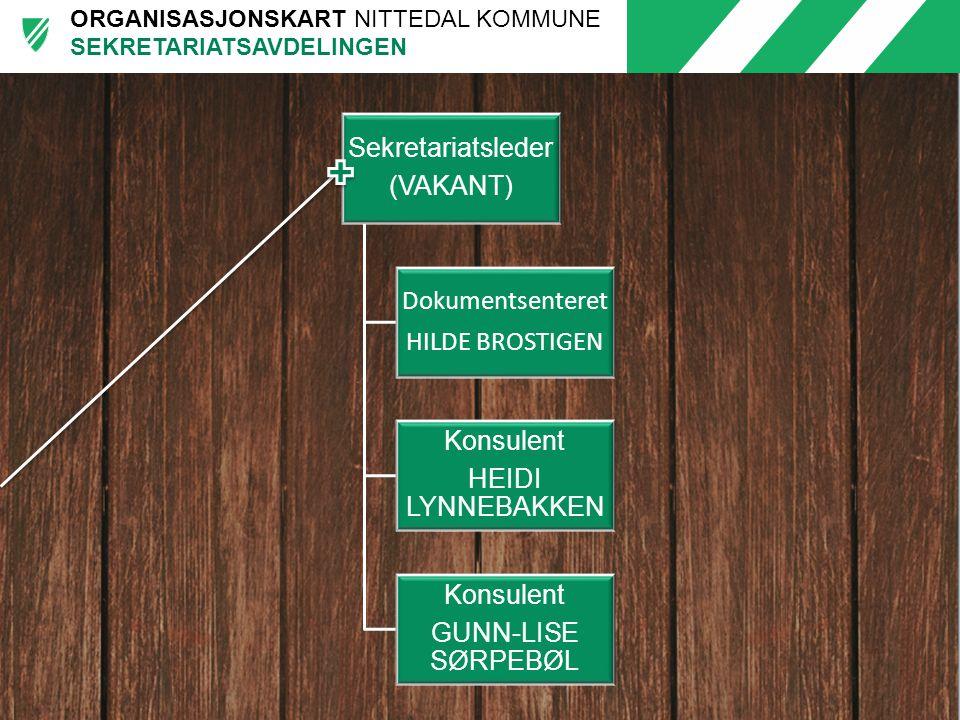 ORGANISASJONSKART NITTEDAL KOMMUNE Sekretariatsleder (VAKANT) Dokumentsenteret HILDE BROSTIGEN Konsulent HEIDI LYNNEBAKKEN Konsulent GUNN-LISE SØRPEBØ