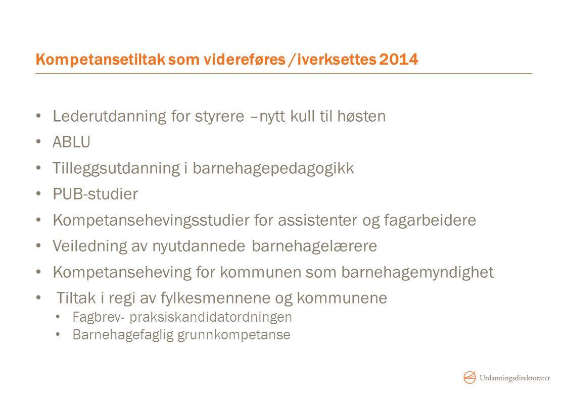 Kompetansetiltak som videreføres /iverksettes 2014 Lederutdanning for styrere –nytt kull til høsten ABLU Tilleggsutdanning i barnehagepedagogikk PUB-s