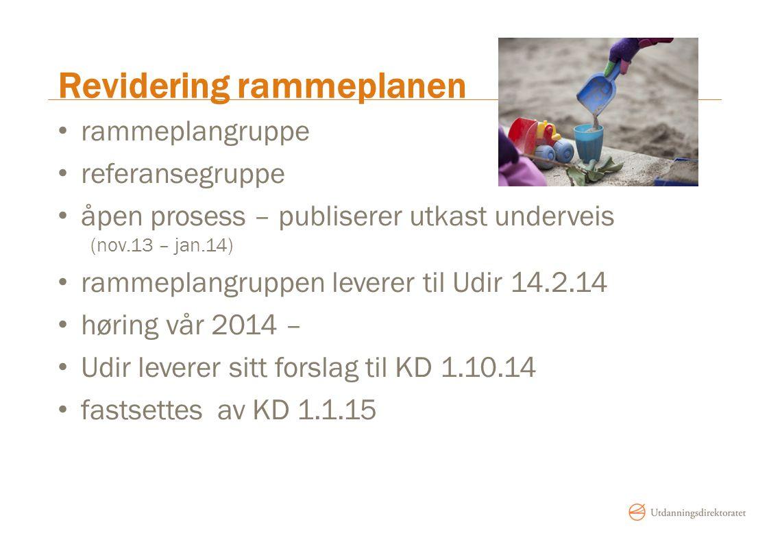 Revidering rammeplanen rammeplangruppe referansegruppe åpen prosess – publiserer utkast underveis (nov.13 – jan.14) rammeplangruppen leverer til Udir