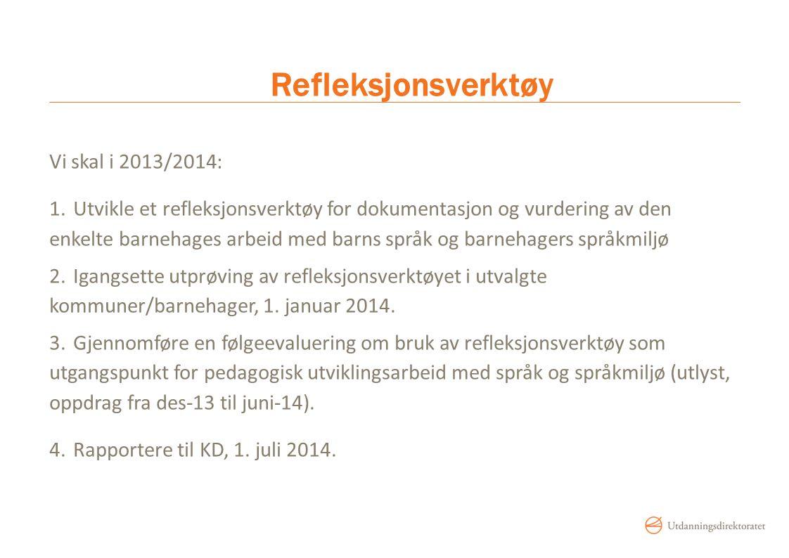 Refleksjonsverktøy Vi skal i 2013/2014: 1.Utvikle et refleksjonsverktøy for dokumentasjon og vurdering av den enkelte barnehages arbeid med barns språ