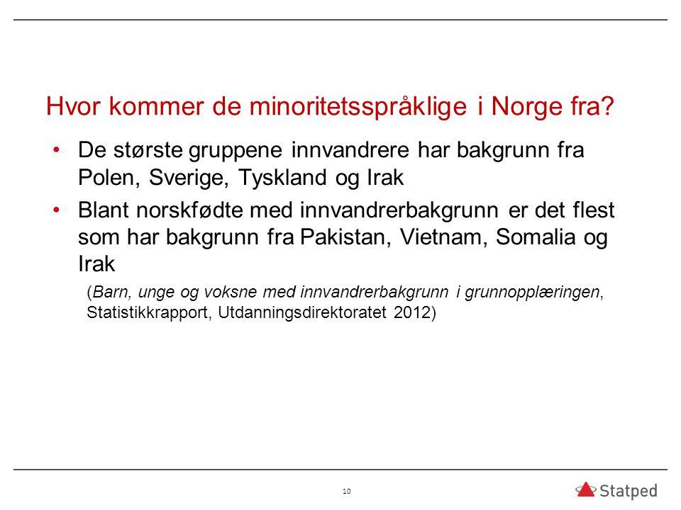 Hvor kommer de minoritetsspråklige i Norge fra? De største gruppene innvandrere har bakgrunn fra Polen, Sverige, Tyskland og Irak Blant norskfødte med