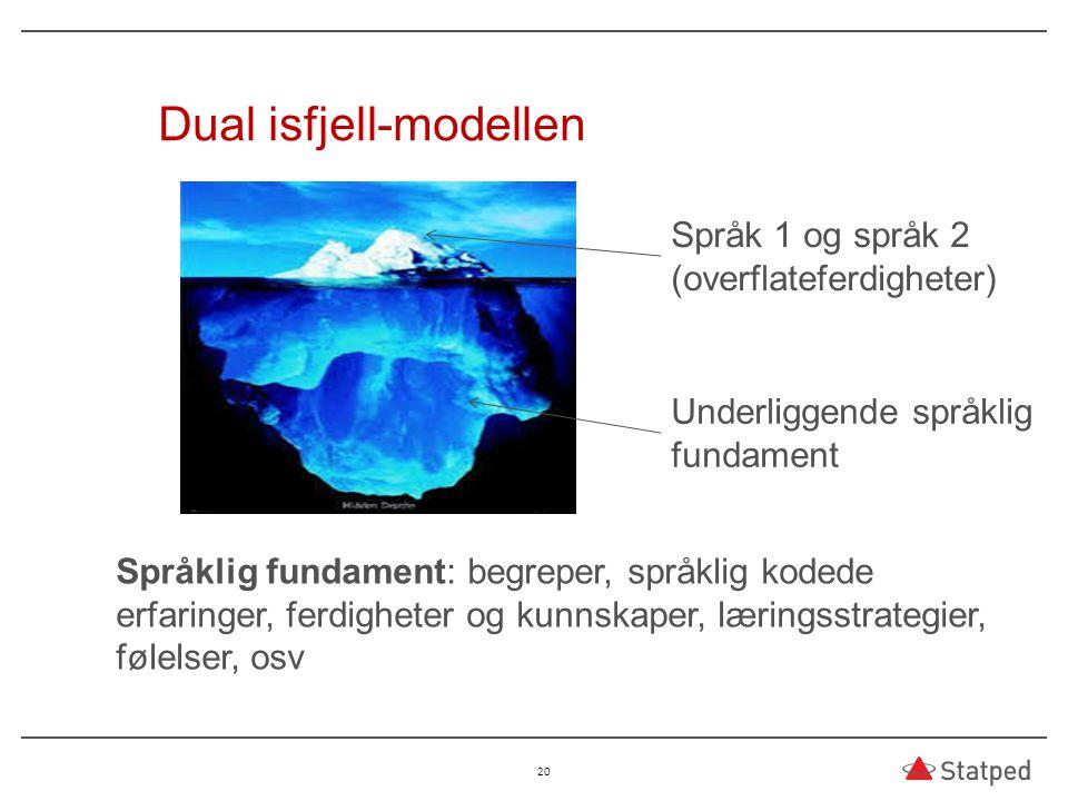 20 Dual isfjell-modellen Språk 1 og språk 2 (overflateferdigheter) Underliggende språklig fundament Språklig fundament: begreper, språklig kodede erfa