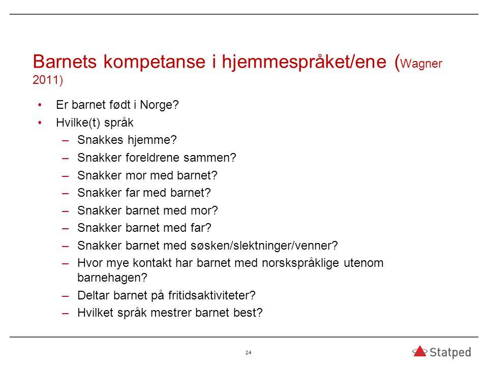 Barnets kompetanse i hjemmespråket/ene ( Wagner 2011) Er barnet født i Norge? Hvilke(t) språk –Snakkes hjemme? –Snakker foreldrene sammen? –Snakker mo