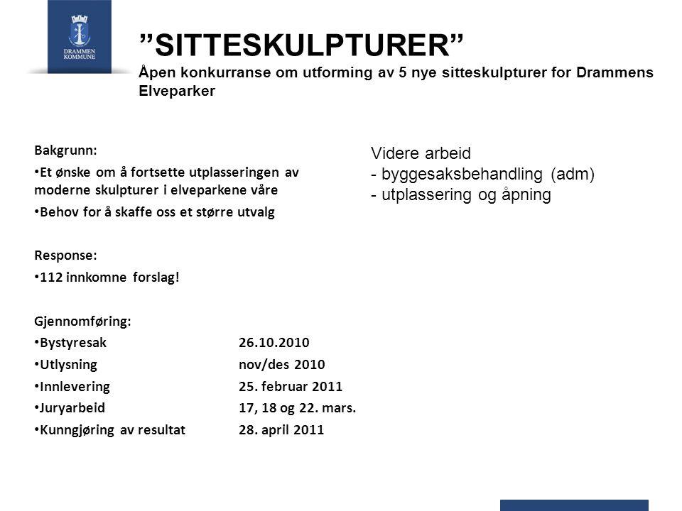 SITTESKULPTURER Åpen konkurranse om utforming av 5 nye sitteskulpturer for Drammens Elveparker Bakgrunn: Et ønske om å fortsette utplasseringen av moderne skulpturer i elveparkene våre Behov for å skaffe oss et større utvalg Response: 112 innkomne forslag.