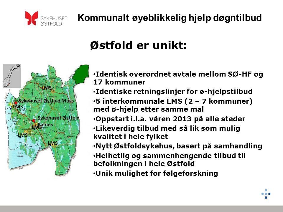 Kommunalt øyeblikkelig hjelp døgntilbud Østfold er unikt: Identisk overordnet avtale mellom SØ-HF og 17 kommuner Identiske retningslinjer for ø-hjelpstilbud 5 interkommunale LMS (2 – 7 kommuner) med ø-hjelp etter samme mal Oppstart i.l.a.