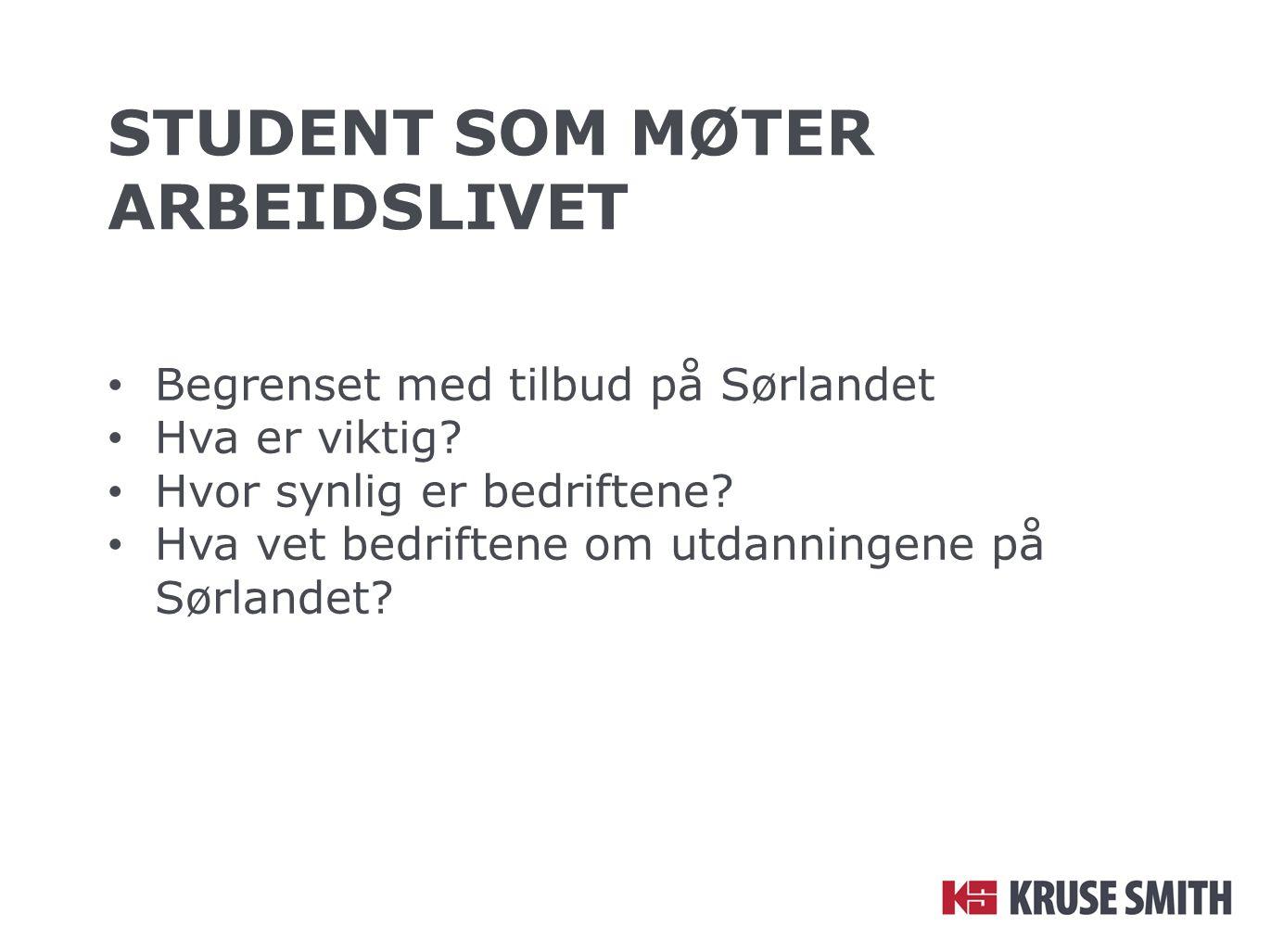 STUDENT SOM MØTER ARBEIDSLIVET Begrenset med tilbud på Sørlandet Hva er viktig? Hvor synlig er bedriftene? Hva vet bedriftene om utdanningene på Sørla