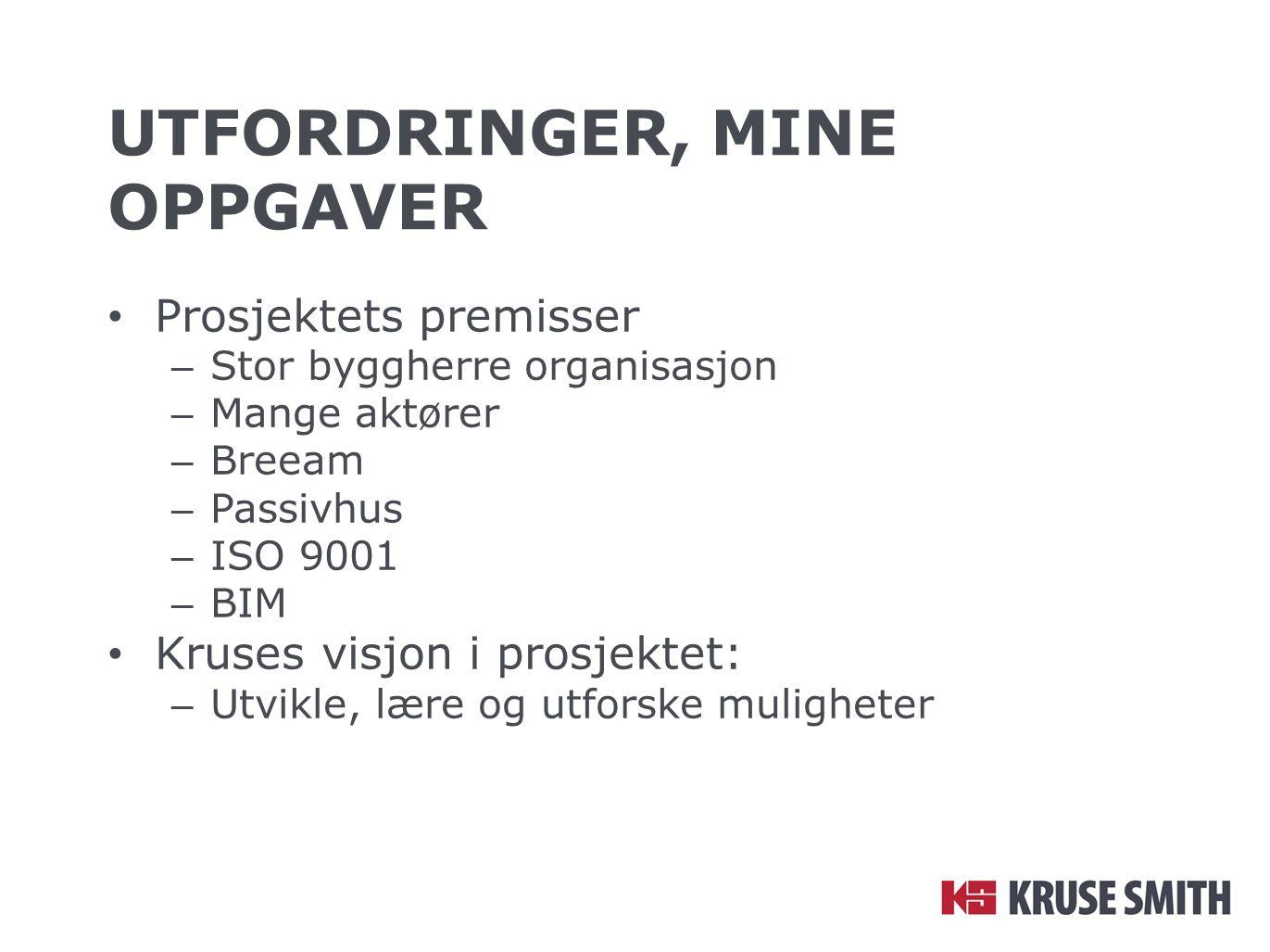UTFORDRINGER, MINE OPPGAVER Prosjektets premisser – Stor byggherre organisasjon – Mange aktører – Breeam – Passivhus – ISO 9001 – BIM Kruses visjon i