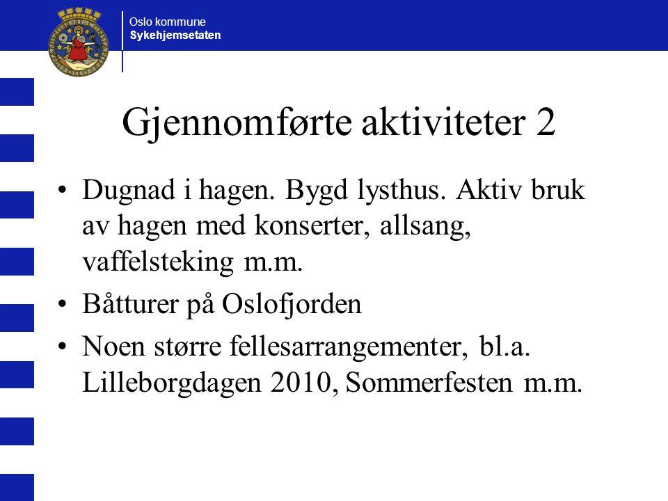 Oslo kommune Sykehjemsetaten Gjennomførte aktiviteter 2 Dugnad i hagen.