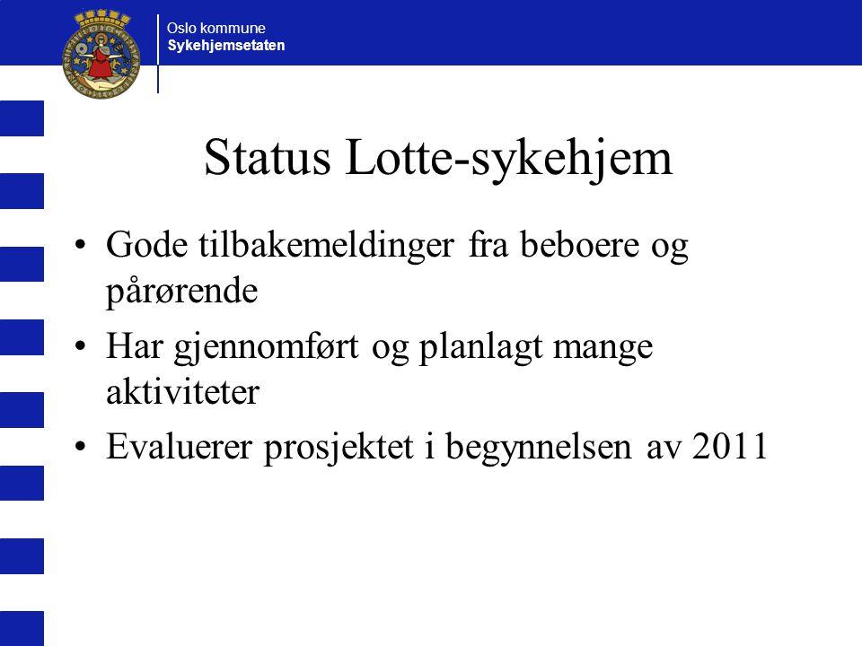 Oslo kommune Sykehjemsetaten Status Lotte-sykehjem Gode tilbakemeldinger fra beboere og pårørende Har gjennomført og planlagt mange aktiviteter Evaluerer prosjektet i begynnelsen av 2011