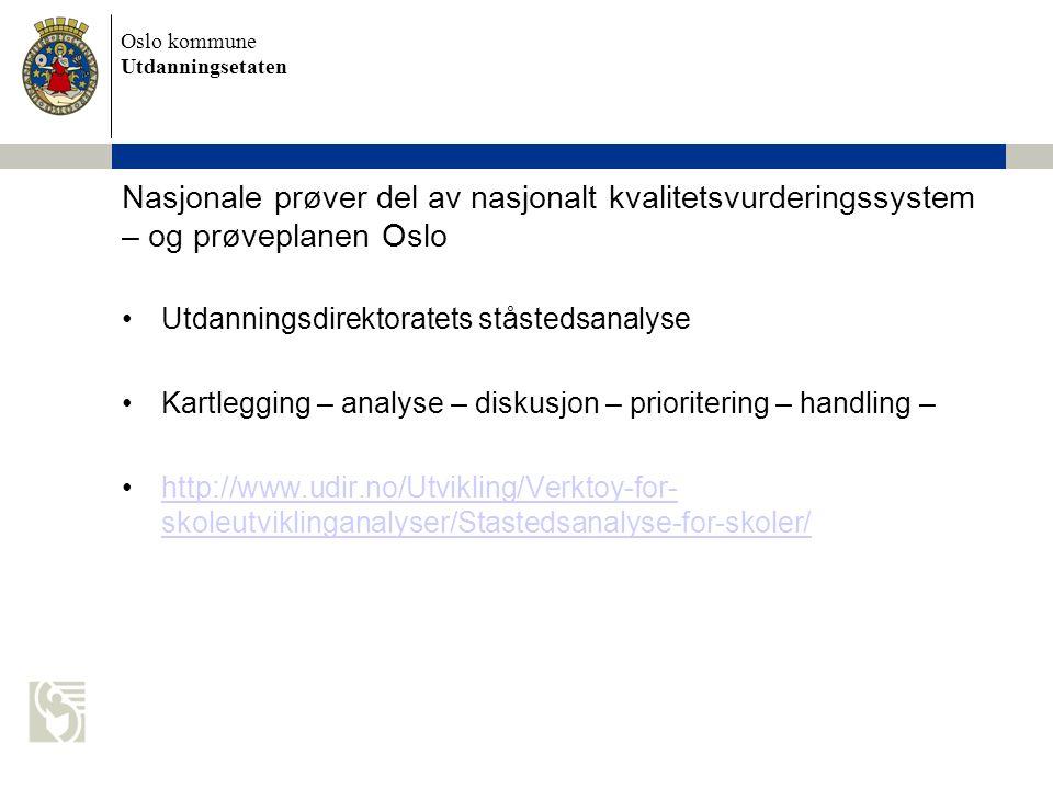 Oslo kommune Utdanningsetaten Nasjonale prøver del av nasjonalt kvalitetsvurderingssystem – og prøveplanen Oslo Utdanningsdirektoratets ståstedsanalys