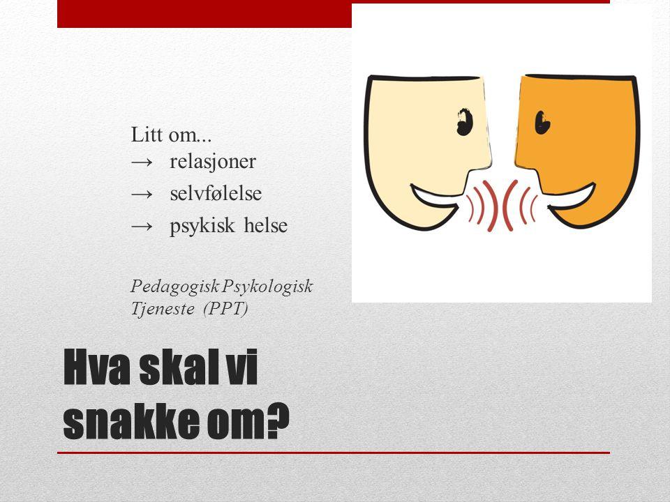 Hva skal vi snakke om? Litt om... → relasjoner → selvfølelse → psykisk helse Pedagogisk Psykologisk Tjeneste (PPT)