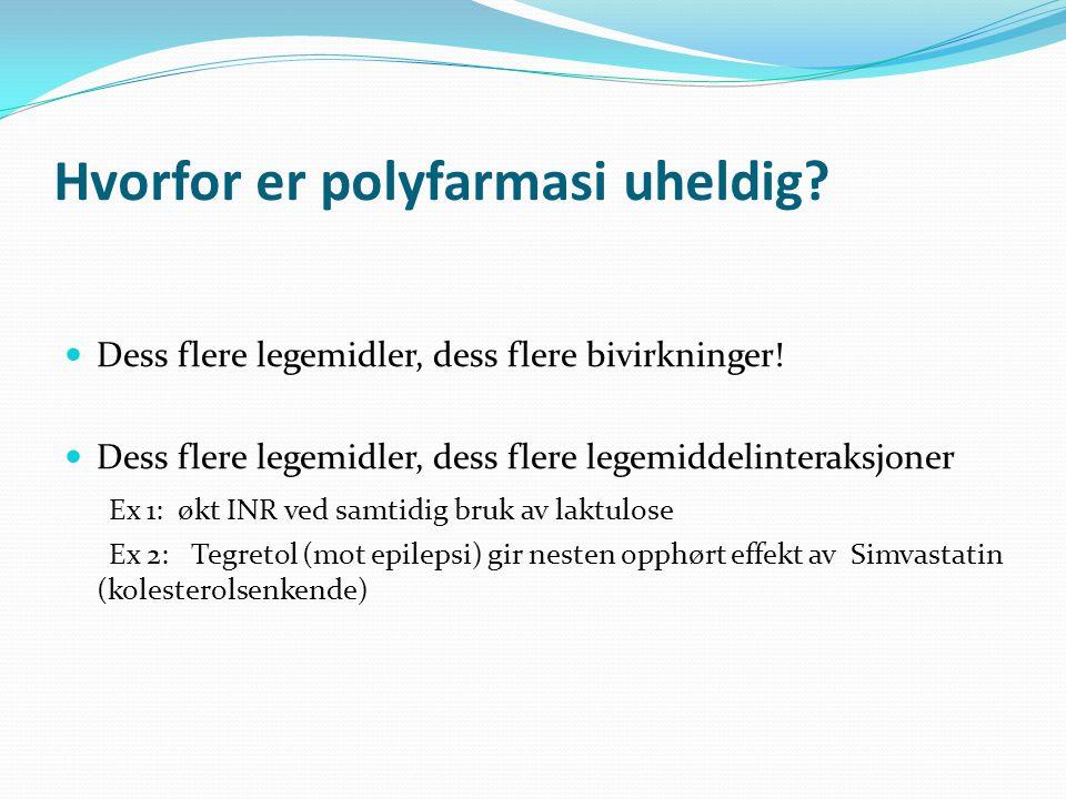 Hvorfor er polyfarmasi uheldig.Dess flere legemidler, dess flere bivirkninger.