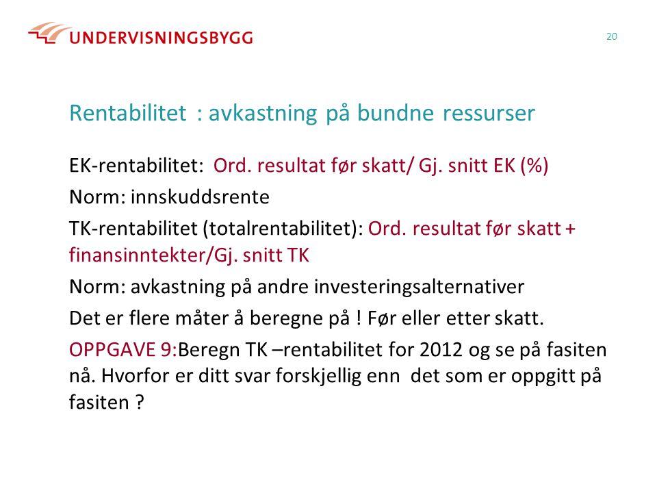 Rentabilitet : avkastning på bundne ressurser EK-rentabilitet: Ord.