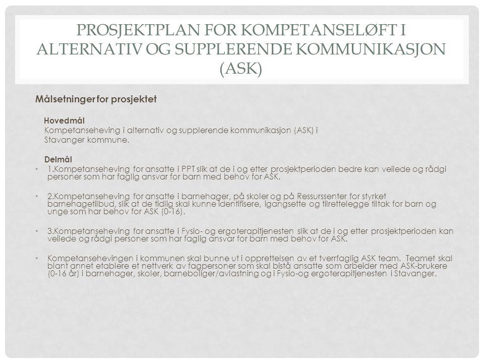 PROSJEKTPLAN FOR KOMPETANSELØFT I ALTERNATIV OG SUPPLERENDE KOMMUNIKASJON (ASK) Målsetninger for prosjektet Hovedmål Kompetanseheving i alternativ og
