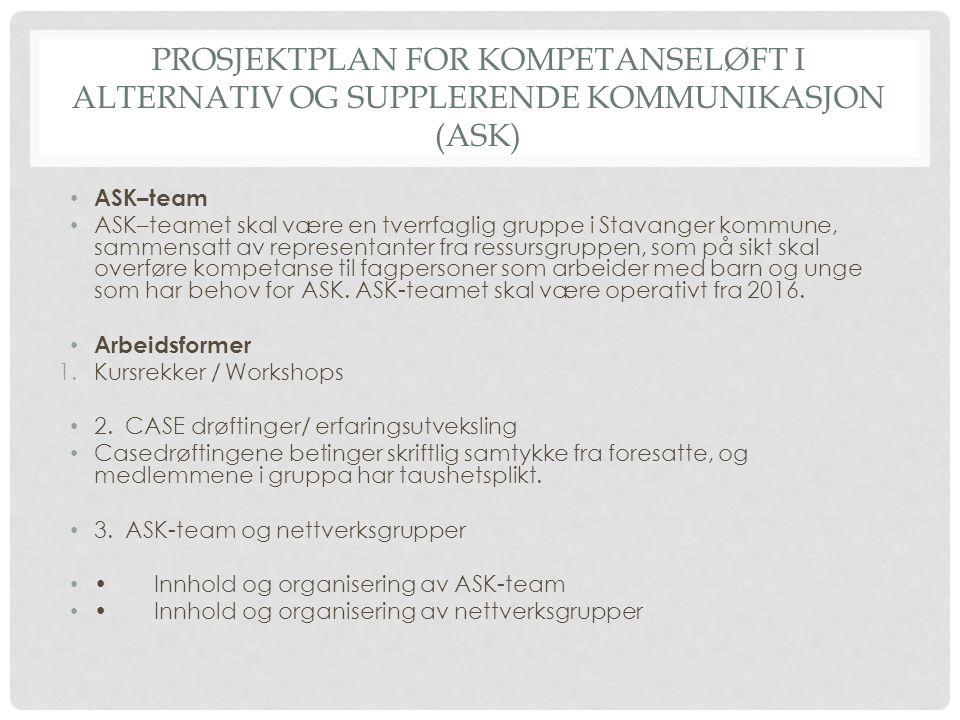 PROSJEKTPLAN FOR KOMPETANSELØFT I ALTERNATIV OG SUPPLERENDE KOMMUNIKASJON (ASK) ASK–team ASK–teamet skal være en tverrfaglig gruppe i Stavanger kommun