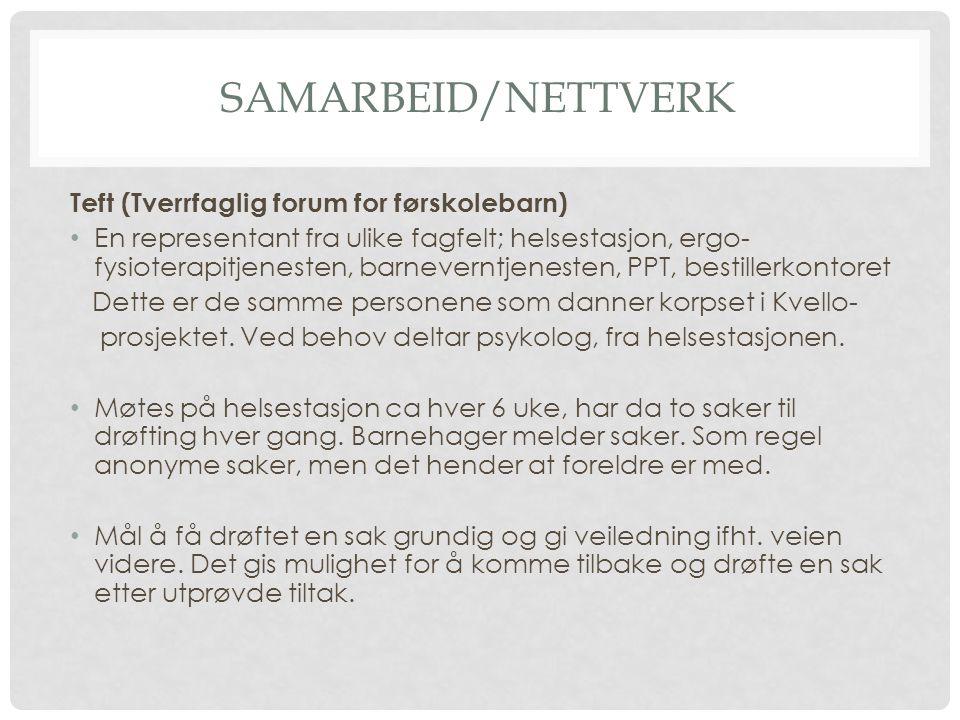 SAMARBEID/NETTVERK Teft (Tverrfaglig forum for førskolebarn) En representant fra ulike fagfelt; helsestasjon, ergo- fysioterapitjenesten, barneverntje