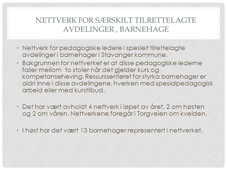 NETTVERK FOR SÆRSKILT TILRETTELAGTE AVDELINGER, BARNEHAGE Nettverk for pedagogiske ledere i spesielt tilrettelagte avdelinger i barnehager i Stavanger