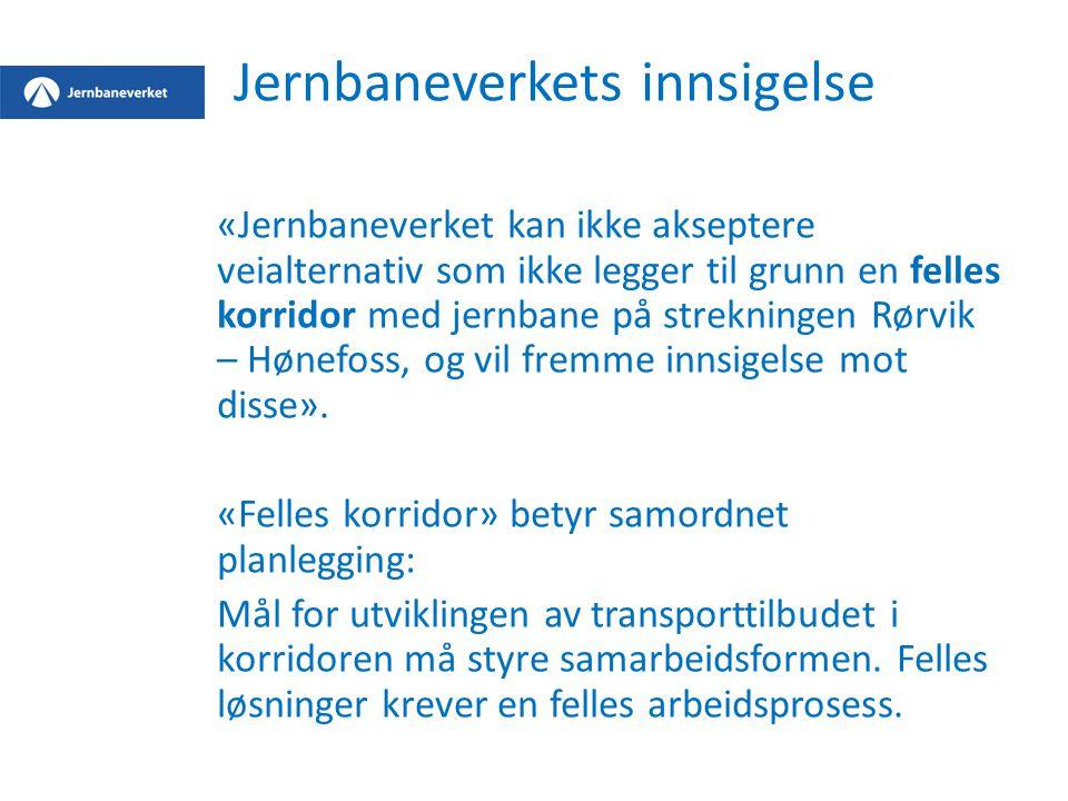Jernbaneverkets innsigelse «Jernbaneverket kan ikke akseptere veialternativ som ikke legger til grunn en felles korridor med jernbane på strekningen Rørvik – Hønefoss, og vil fremme innsigelse mot disse».