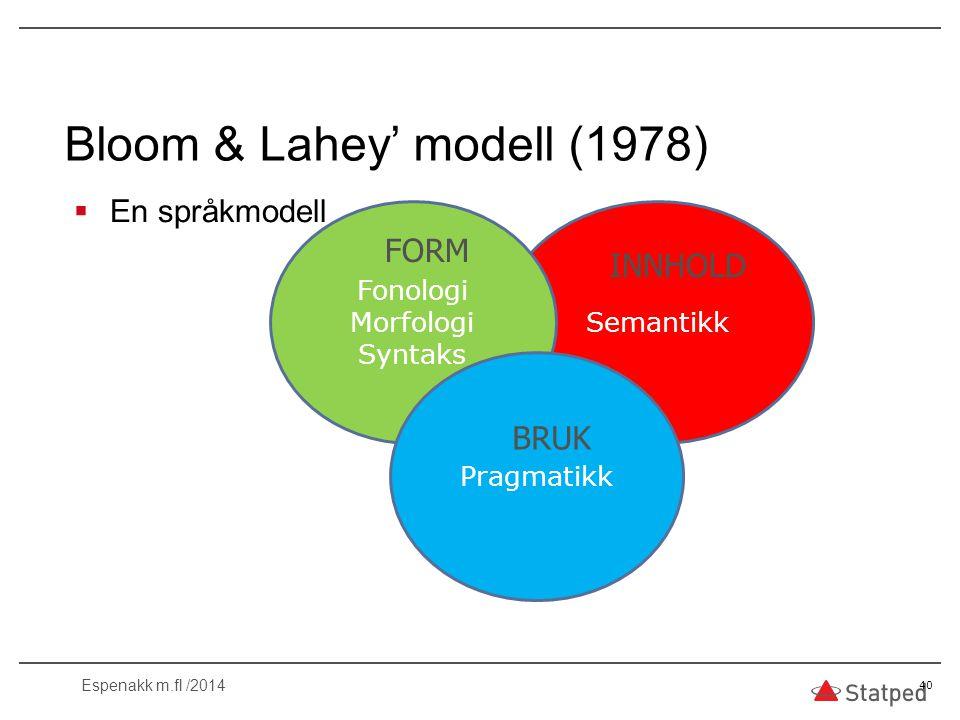  En språkmodell 40 Bloom & Lahey' modell (1978) Semantikk Fonologi Morfologi Syntaks Pragmatikk FORM INNHOLD BRUK Espenakk m.fl /2014