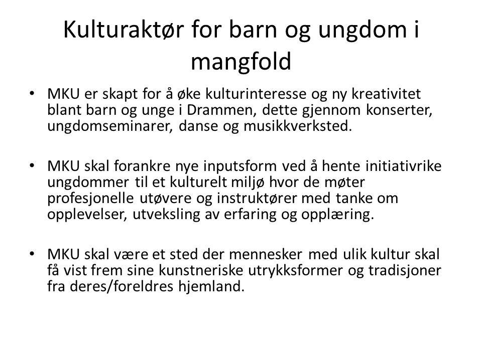 Kulturaktør for barn og ungdom i mangfold MKU er skapt for å øke kulturinteresse og ny kreativitet blant barn og unge i Drammen, dette gjennom konsert