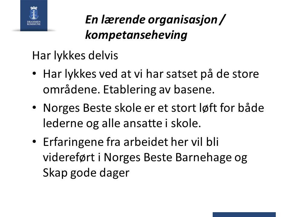 En lærende organisasjon / kompetanseheving Har lykkes delvis Har lykkes ved at vi har satset på de store områdene. Etablering av basene. Norges Beste