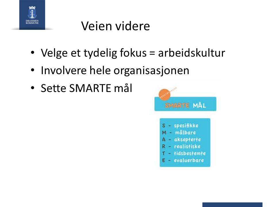 Veien videre Velge et tydelig fokus = arbeidskultur Involvere hele organisasjonen Sette SMARTE mål