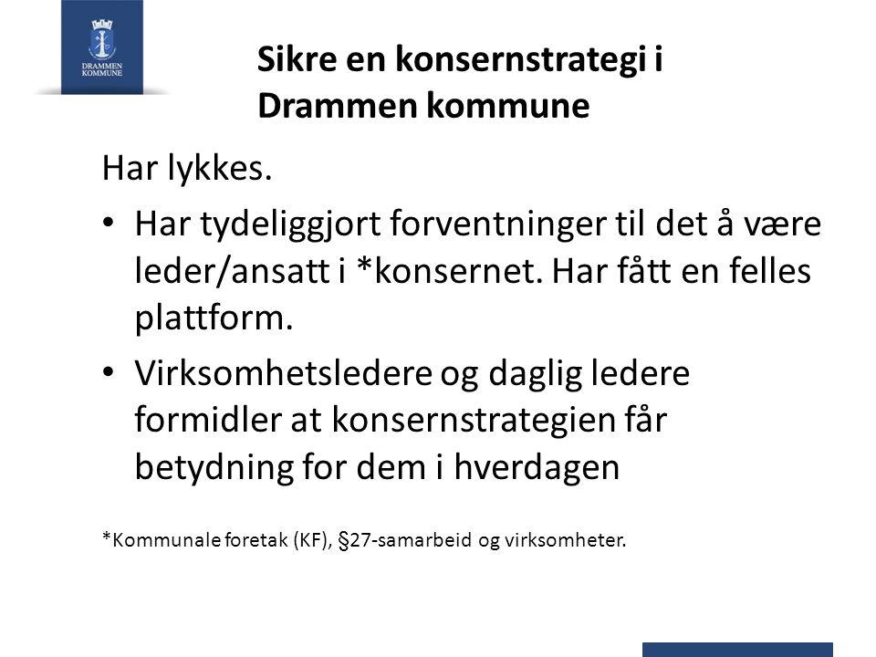 Sikre en konsernstrategi i Drammen kommune Har lykkes. Har tydeliggjort forventninger til det å være leder/ansatt i *konsernet. Har fått en felles pla