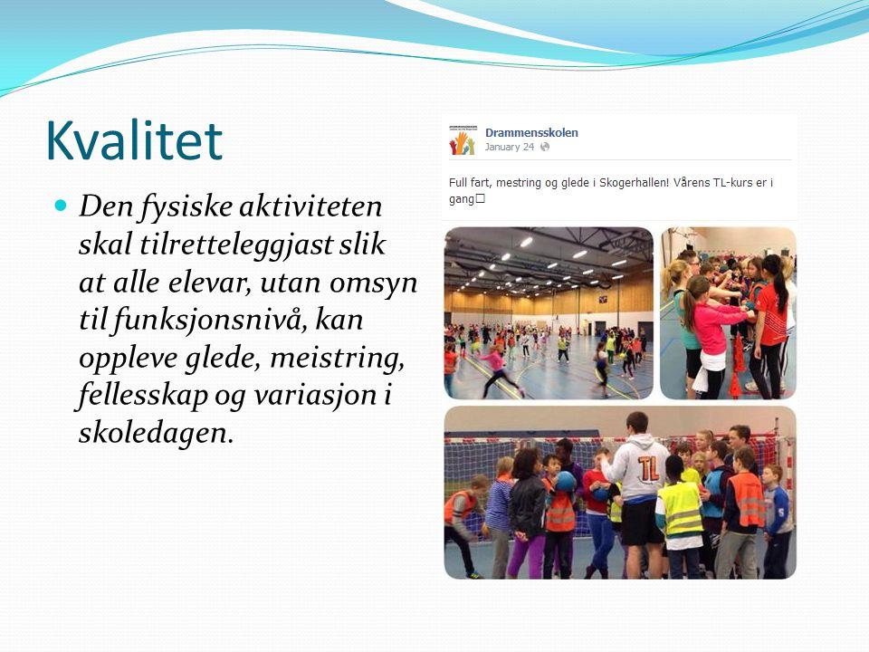 Kvalitet Den fysiske aktiviteten skal tilretteleggjast slik at alle elevar, utan omsyn til funksjonsnivå, kan oppleve glede, meistring, fellesskap og