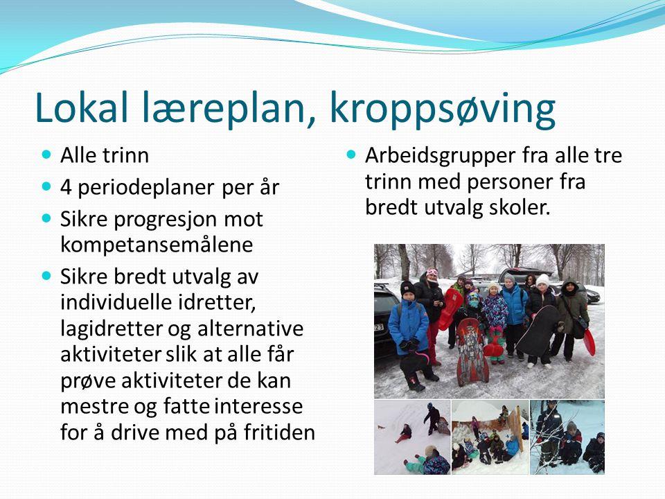 Lokal læreplan, kroppsøving Alle trinn 4 periodeplaner per år Sikre progresjon mot kompetansemålene Sikre bredt utvalg av individuelle idretter, lagid