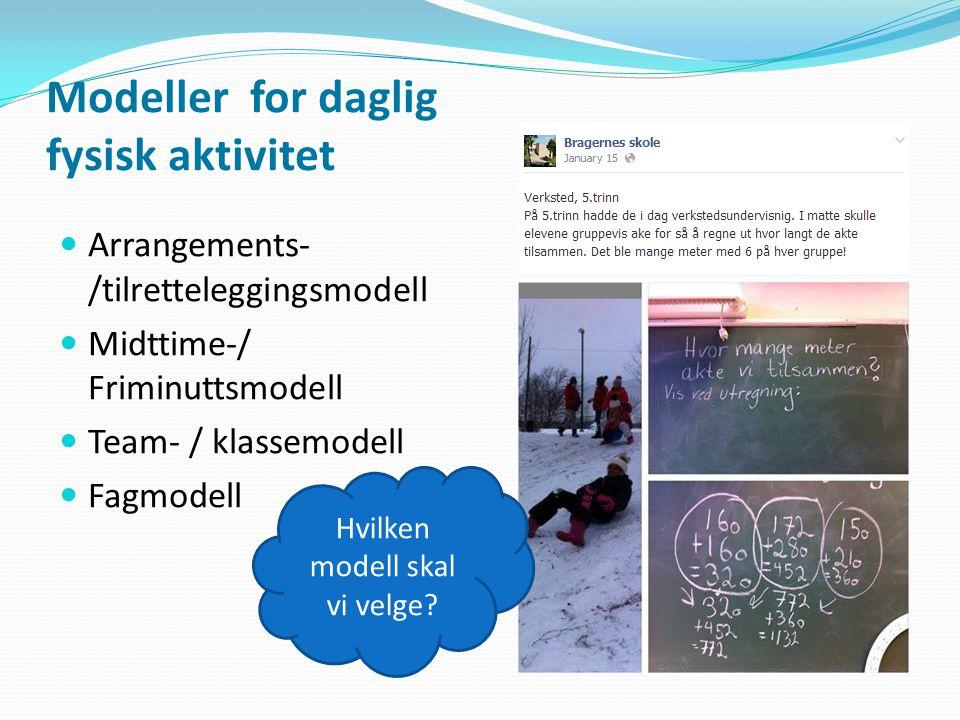 Modeller for daglig fysisk aktivitet Arrangements- /tilretteleggingsmodell Midttime-/ Friminuttsmodell Team- / klassemodell Fagmodell Hvilken modell s