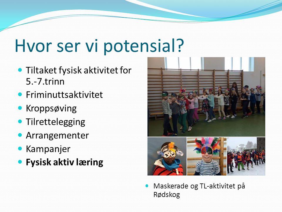 Hvor ser vi potensial? Tiltaket fysisk aktivitet for 5.-7.trinn Friminuttsaktivitet Kroppsøving Tilrettelegging Arrangementer Kampanjer Fysisk aktiv l