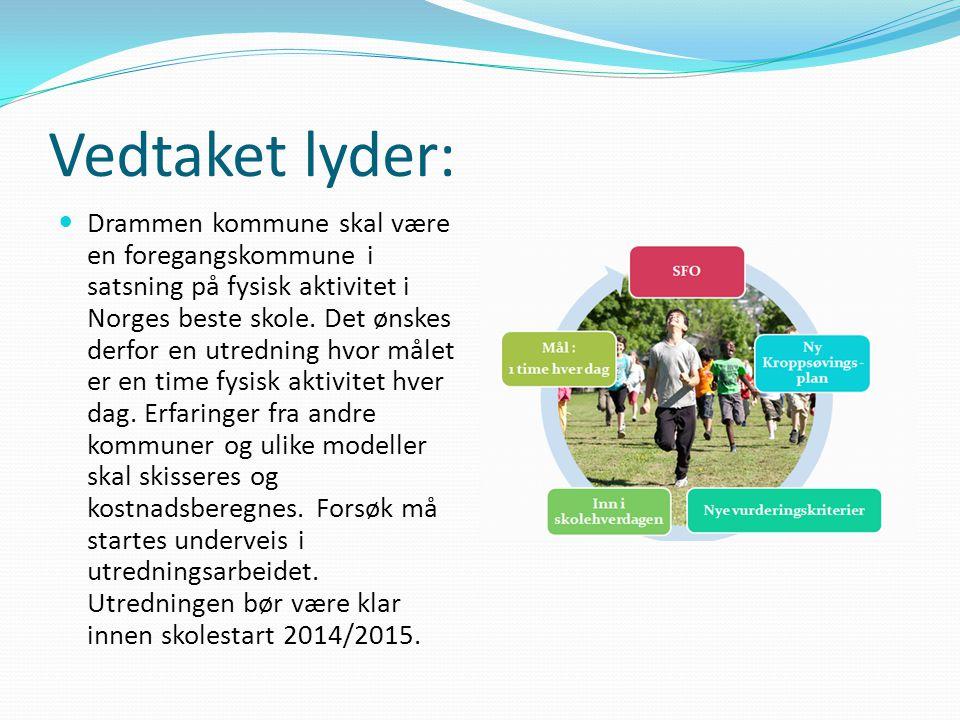 Vedtaket lyder: Drammen kommune skal være en foregangskommune i satsning på fysisk aktivitet i Norges beste skole. Det ønskes derfor en utredning hvor