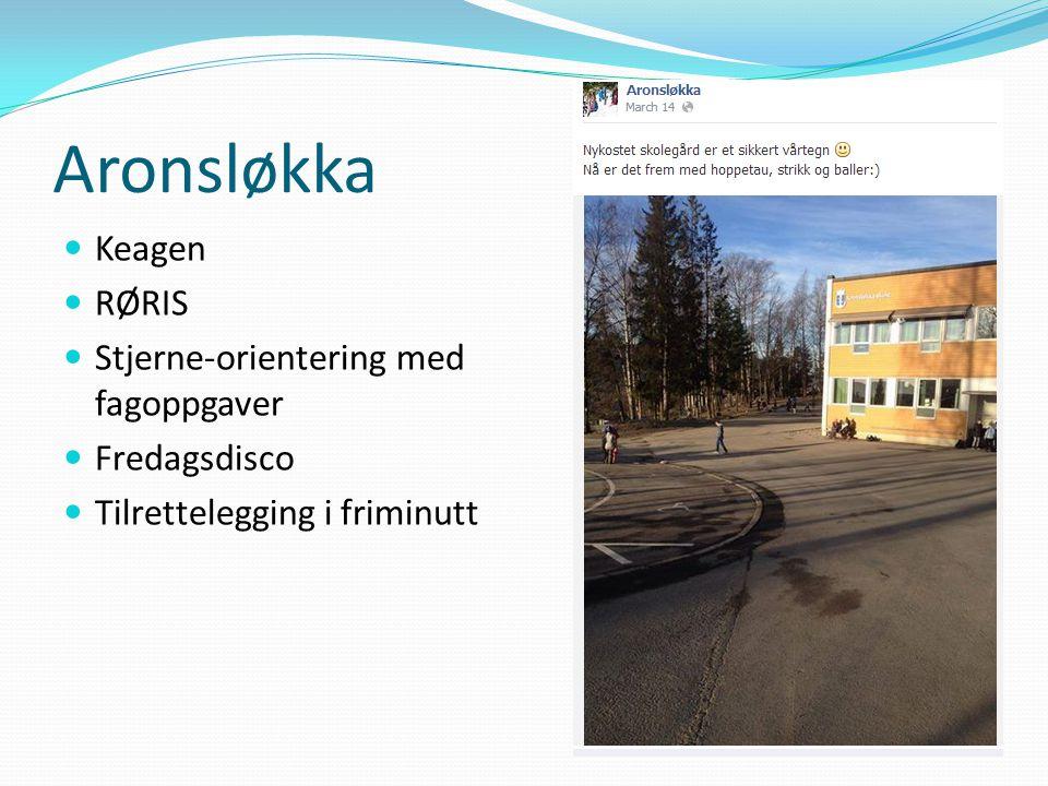 Aronsløkka Keagen RØRIS Stjerne-orientering med fagoppgaver Fredagsdisco Tilrettelegging i friminutt